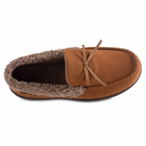Isotoner® Men's Microsuede and Berber Slippers - Brown Perspective: top