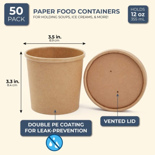 50 Pack 12 oz Disposable Soup Containers with Lids, Take Out Cups for Hot or Cold Food to Go Perspective: top