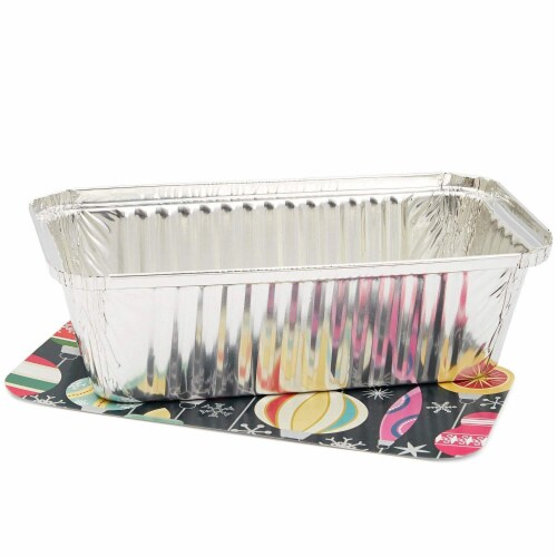50x Christmas Disposable Aluminum Foil Loaf Pan Lid 8.5 x 2.5 x 4.5 inch (22 Oz) Perspective: top