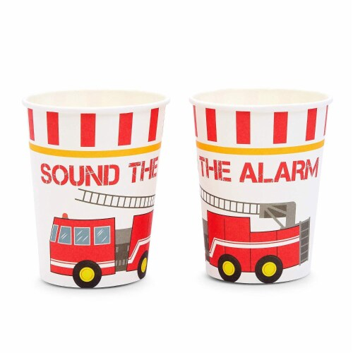 Fire Truck Birthday Party Dinnerware Set, Sound The Alarm (144 Pieces, Serves 24) Perspective: top