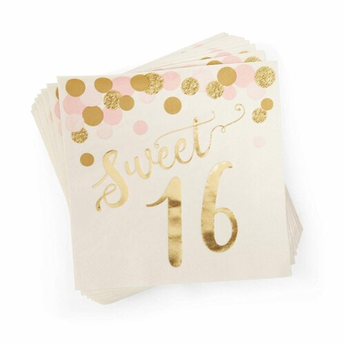 Rose Gold Sweet 16 Birthday Party Supplies (Serves 24, 170 Total Pieces) Perspective: top