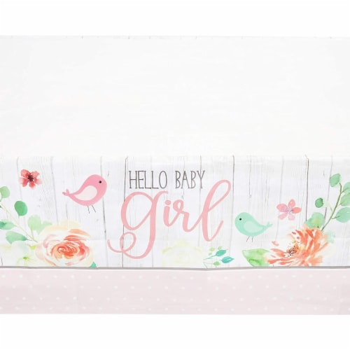 Hello Baby Girl Shower Table Covers (54 x 108 in., 3 Pack) Perspective: top