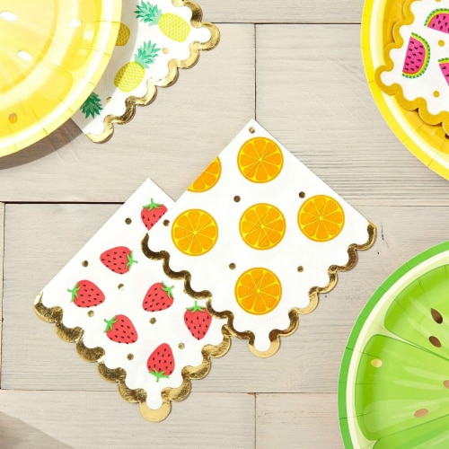 Fruit Cocktail Napkins, Summer Party Decorations (4 Designs, 5 x 5 In, 100 Pack) Perspective: top