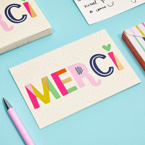 Blank Merci Thank You Cards with Striped Envelopes (6 x 4 Inches, 24 Pack) Perspective: top