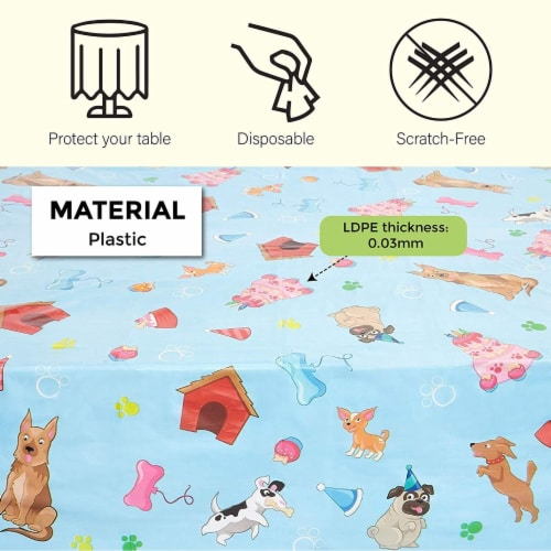 Blue Panda Puppy Dog Themed Party Table Covers (54 x 108 in, Rectangle, 3 Pack) Perspective: top
