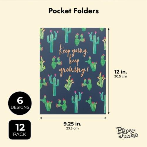 Succulent 2-Pocket Folders for School, Letter Size, 6 Cactus Designs (12 Pack) Perspective: top