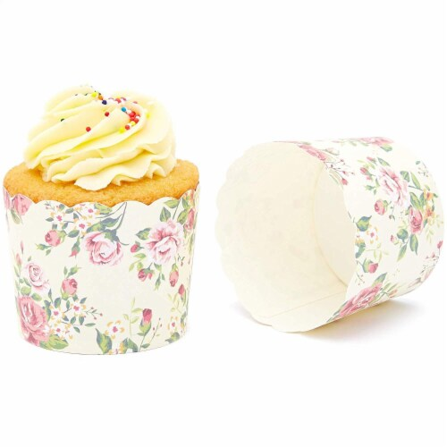 50-Pack Muffin Liners - Vintage Floral Cupcake Wrappers Paper Baking Cups Perspective: top