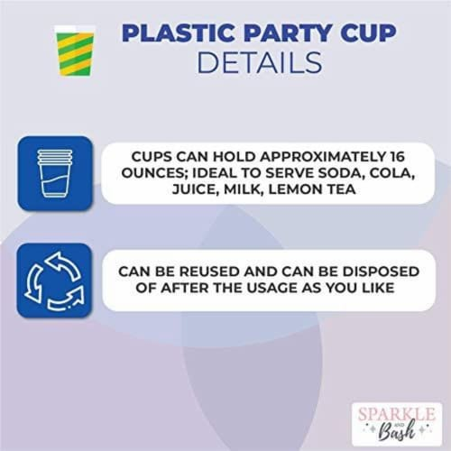 Pink Plastic Tumbler Cups, Cupcake Party Decorations (16 oz, 16 Pack) Perspective: top