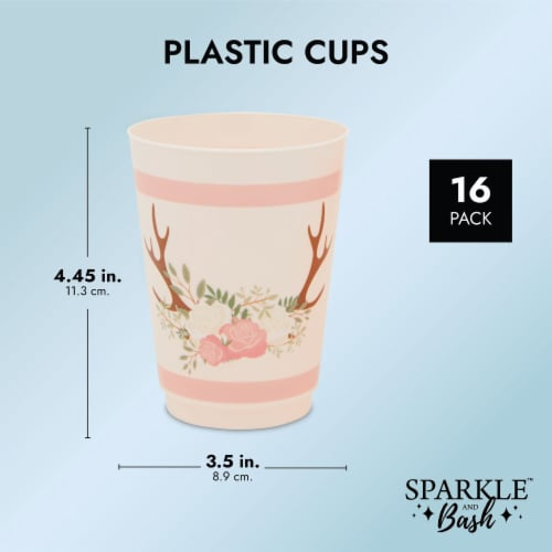 Pink Plastic Floral Tumbler Cups for Oh Deer Girl Baby Shower (16 oz, 16 Pack) Perspective: top