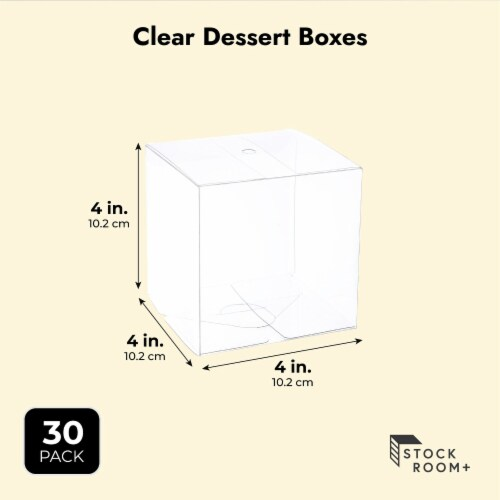 Clear Candy Apple Boxes with Hole for Party Favor Supplies (4x4x4 In, 30 Pack) Perspective: top