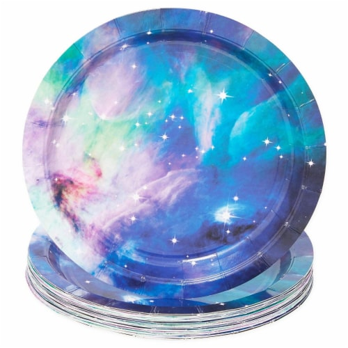 Galaxy Party Pack, Paper Plates, Plastic Cutlery, Cups, and Napkins (Serves 24, 168 Pieces) Perspective: top