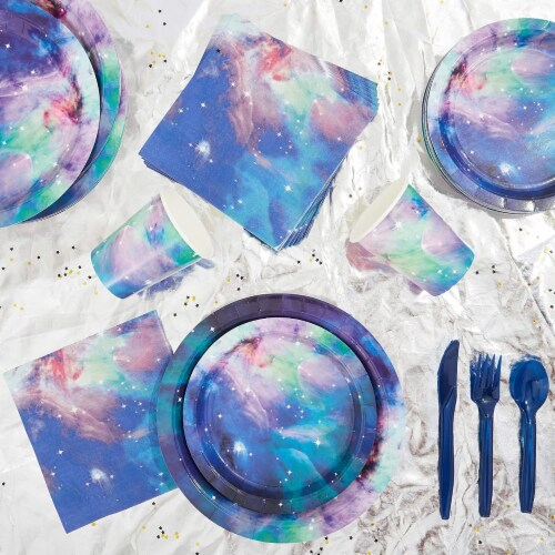 Galaxy Paper Plates for Outer Space Party (7 In, 80 Pack) Perspective: top