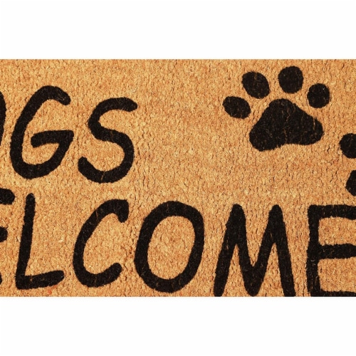 Dogs Welcome People Tolerated Welcome Mat, Natural Coir Doormat (30 x 17 in) Perspective: top