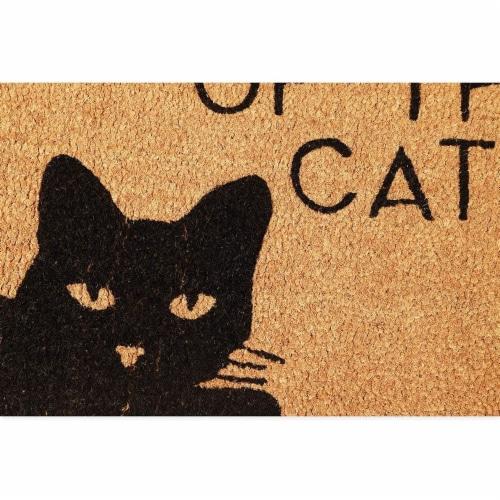 Beware of The Cat Welcome Mat for Front Door, Natural Coir Doormat (30 x 17 in) Perspective: top