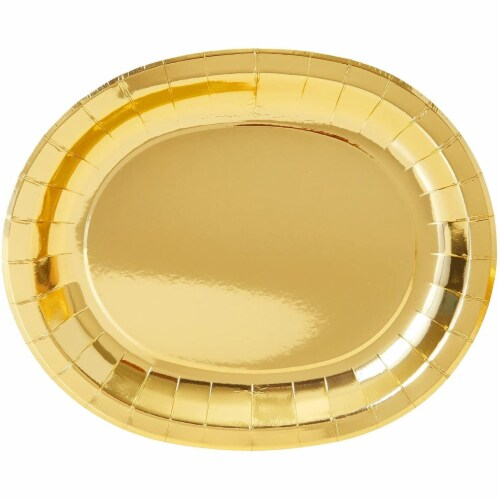 Oval Serving Platters for Parties, Gold Foil Paper Tray (12.5 x 10 In, 48 Pack) Perspective: top