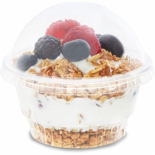 Clear Plastic Ice Cream and Yogurt Cups with Dome Lids (5 oz, 50 Pack) Perspective: top