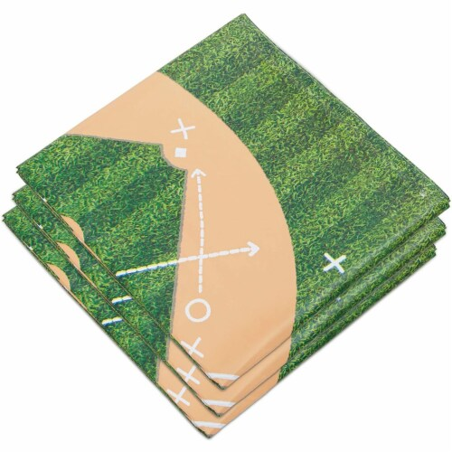 Baseball Tablecloth Birthday Party Plastic Table Cover (54 x 108 in, 3 Pack) Perspective: top