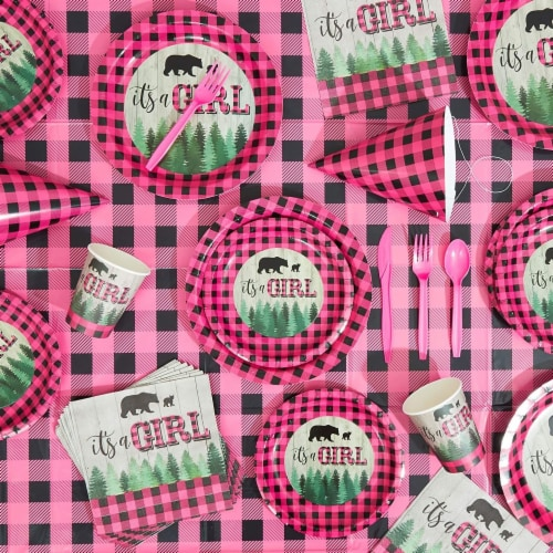 Sparkle and Bash Buffalo Plaid Table Covers for Girl Baby Shower (54 x 108 in, 3 Pack) Perspective: top