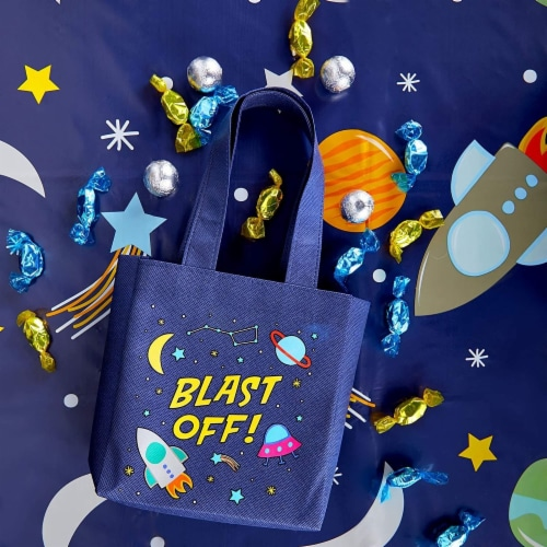 Outer Space Party Favor Tote Bags, Blast Off (6.5 x 7 x 1.77 In, 24 Pack) Perspective: top