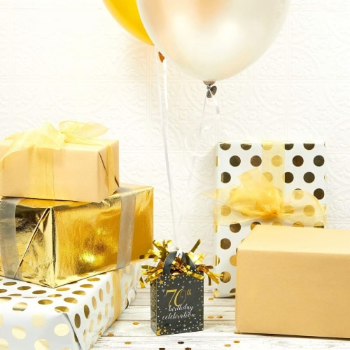 70th Birthday Party Balloon Weights, Black and Gold Decorations (6 oz, 6 Pack) Perspective: top