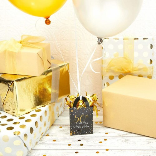 50th Birthday Party Balloon Weights, Black and Gold Decorations (6 oz, 6 Pack) Perspective: top