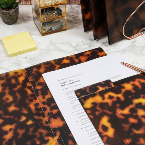 Decorative File Folders, 1/3 Cut Tab, Letter Size, Plastic Tortoise Shell (6 Pack) Perspective: top