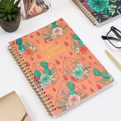 Gold Foil Succulent Spiral Bound Journal Notebooks (8.25 x 6.15 in, Set of 2) Perspective: top