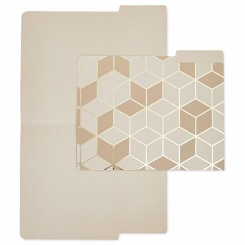 Decorative File Folders, 1/3 Cut Tab, Letter Size, Gold Foil Geometric (12 Pack) Perspective: top