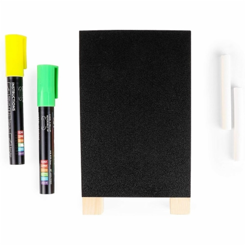 Chalkboard Easel Stand with Liquid Chalk Marker and White Chalk (2 Sets) Perspective: top