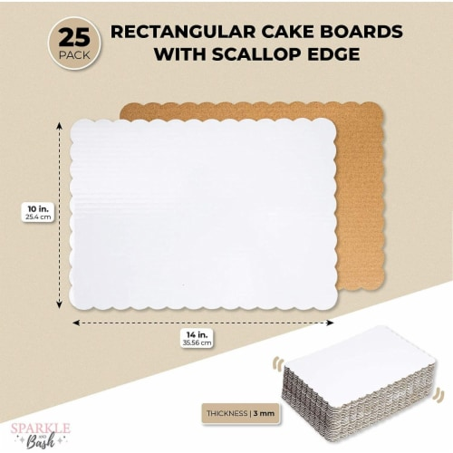 White Foil Cake Boards, Scalloped Rectangle Dessert Base (14 x 10 In, 25 Pack) Perspective: top