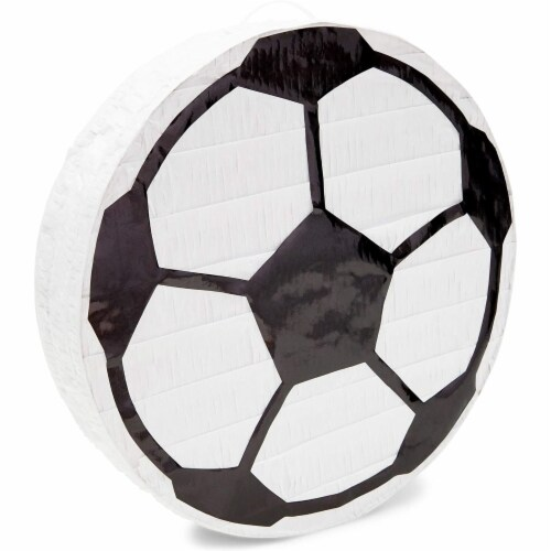 Soccer Ball Pinata for Birthday Party Decorations (12.8 x 12.8 x 3 Inches) Perspective: top