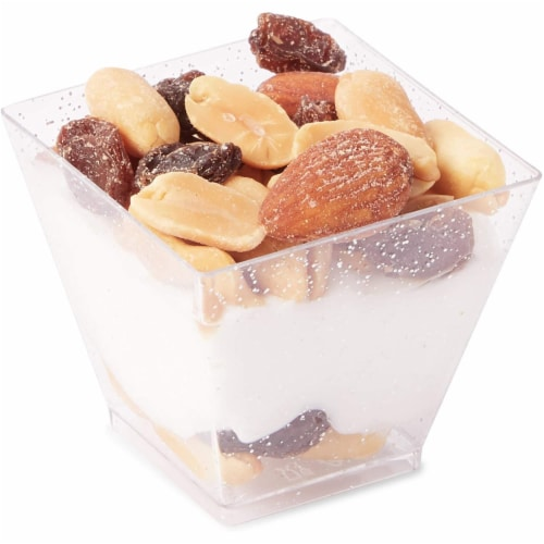 100 Silver Glitter Mini Dessert Cups with 100 Spoons (2 oz) Perspective: top
