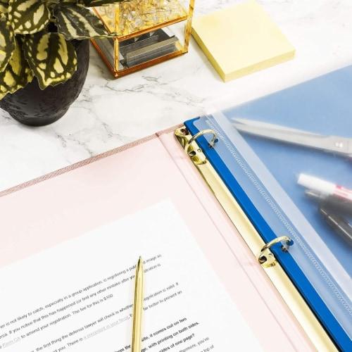 Pink Binder, Linen 3 Ring Binder, File Folder with Gold Hardware (1.5 in) Perspective: top