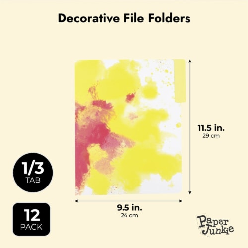 Rainbow Decorative File Folders, 1/3 Cut Tab, Letter Size, Watercolor (12 Pack) Perspective: top