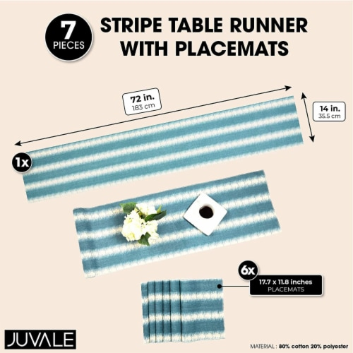 Striped Dining Table Runner and Placemats, Set of 6 (7 Pieces) Perspective: top