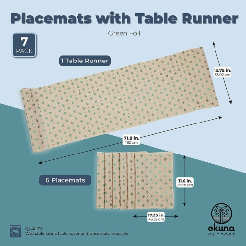 Ivory Dining Table Runner and Placemats, Set of 6, Green Foil (7 Pieces) Perspective: top