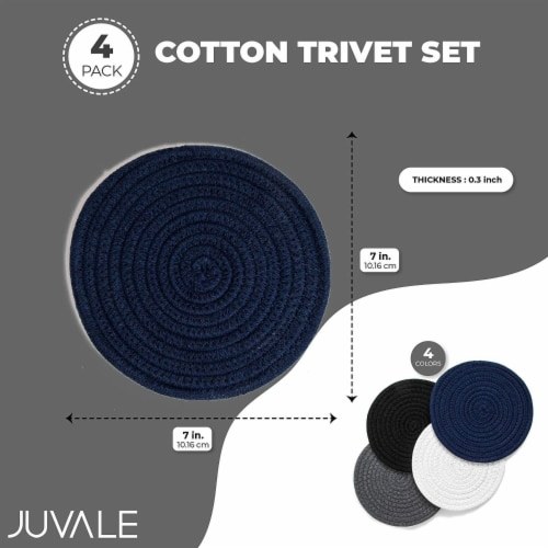 Cotton Trivet Potholder Set, Round Coasters in 4 Colors (7 Inches, 4 Pack) Perspective: top