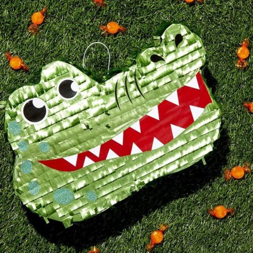 Small Alligator Piñata for Kids Safari Birthday Party (16.5 x 11.5 x 3 Inches) Perspective: top