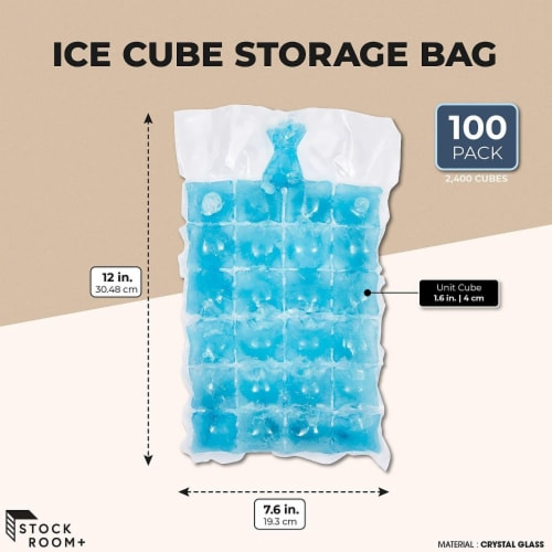 Disposable Ice Cube Storage Bag (7.6 x 12 Inches, 100 Pack) Perspective: top