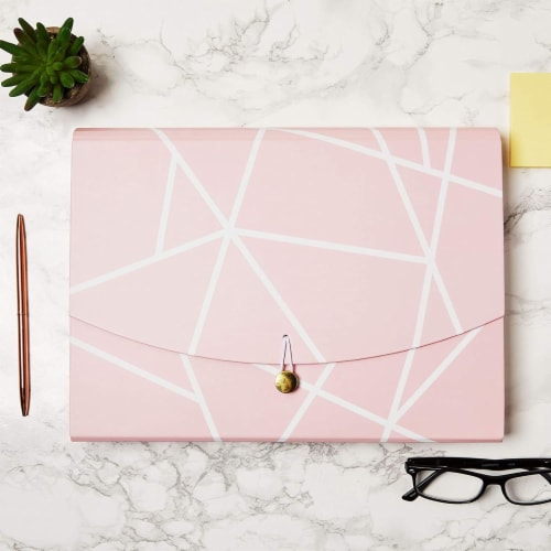 Expanding File Folder with10 Pockets, Pink Geometric (Letter Size) Perspective: top