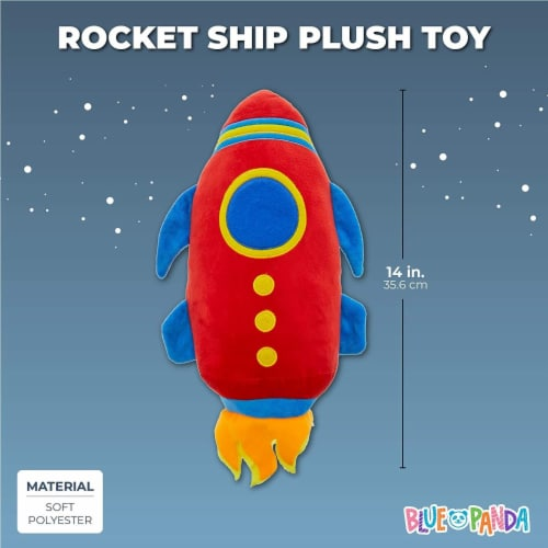 Rocket Ship Plush Toy, Stuffed Outer Space Shuttle (14 Inches) Perspective: top