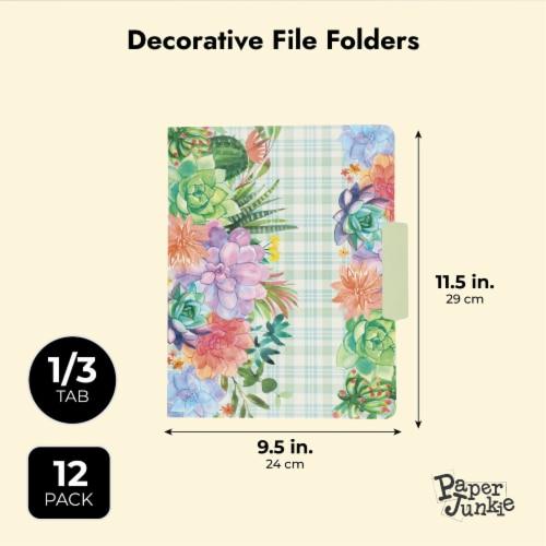 Decorative File Folders, Cactus Succulents, 1/3 Cut Tab, Letter Size (12 Pack) Perspective: top