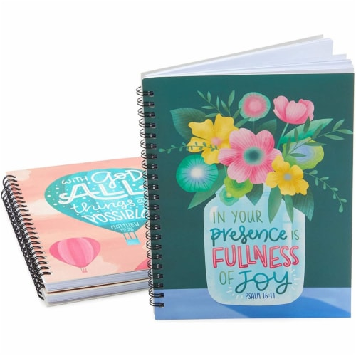 Christian Inspirational Journals, Spiral Bound Notebooks (6 x 8 in, 3 Pack) Perspective: top