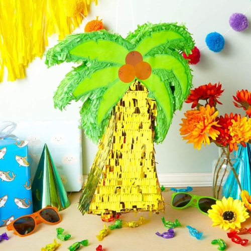 Tropical Palm Tree Luau Piñata for Summer Birthday Party (16.5 x 13 In) Perspective: top