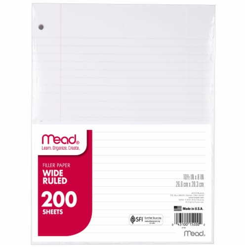Mead® Wide Ruled Notebook Filler Paper (3 Pack) Perspective: top
