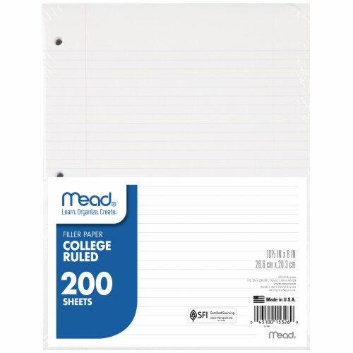Mead® College Ruled Notebook Filler Paper (3 Pack) Perspective: top