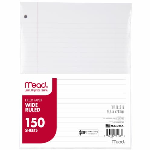 Mead® Wide Ruled Notebook Filler Paper - 150 Sheets Perspective: top