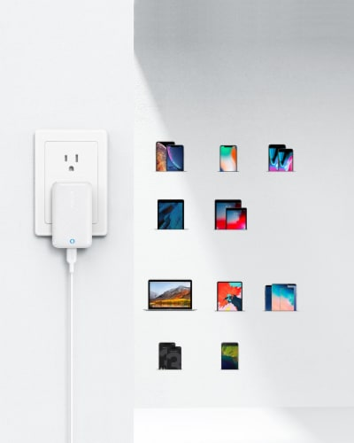 Anker PowerPort Atom III 30W Wall Charger - White Perspective: top