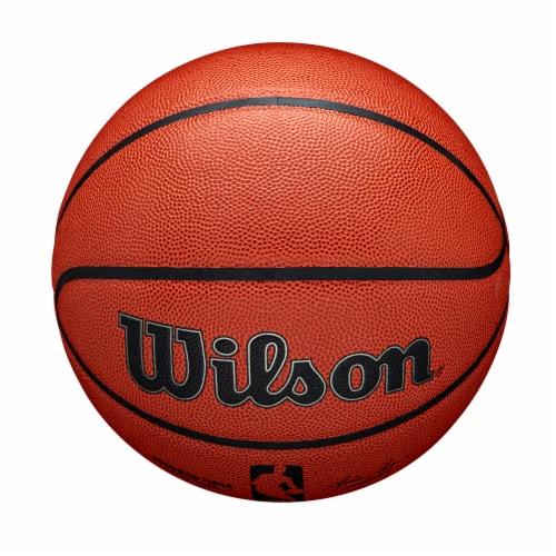Wilson Sporting Goods NBA Authentic Indoor/Outdoor Intermediate Size Basketball - Orange/Black Perspective: top