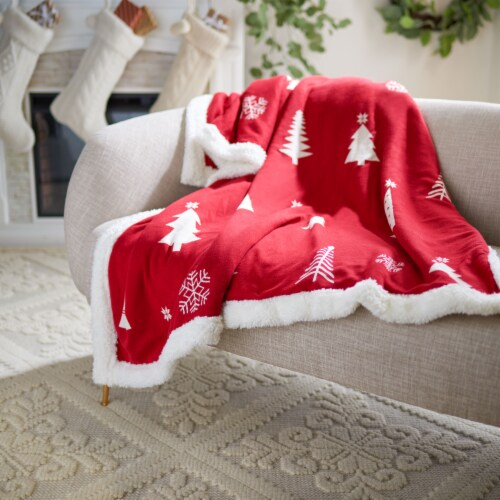 Cedar Sherpa Throw Red Perspective: top